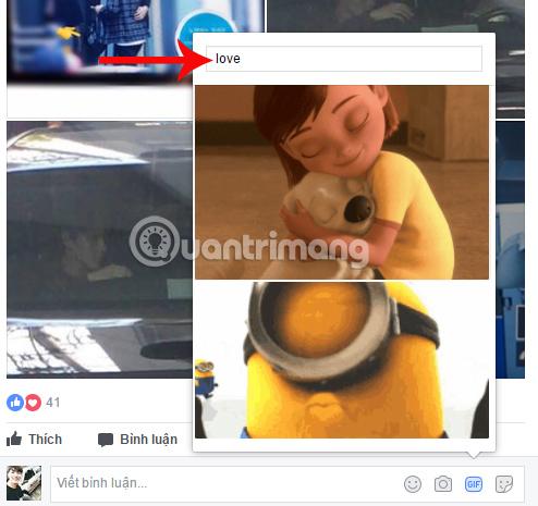 Tìm kiếm ảnh GIF trên Facebook