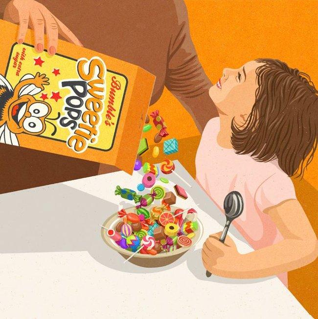 Cho trẻ con ăn quá nhiều đồ ngọt.