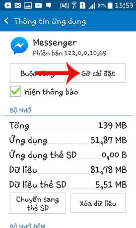 Gỡ ứng dụng Messenger