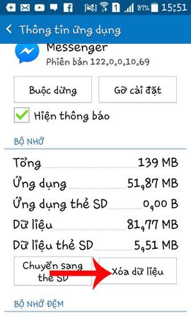 Xóa dữ liệu ứng dụng Messenger