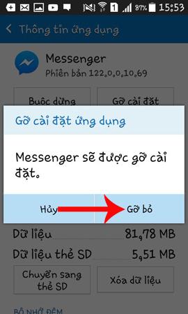 Cài đặt lại ứng dụng Messenger