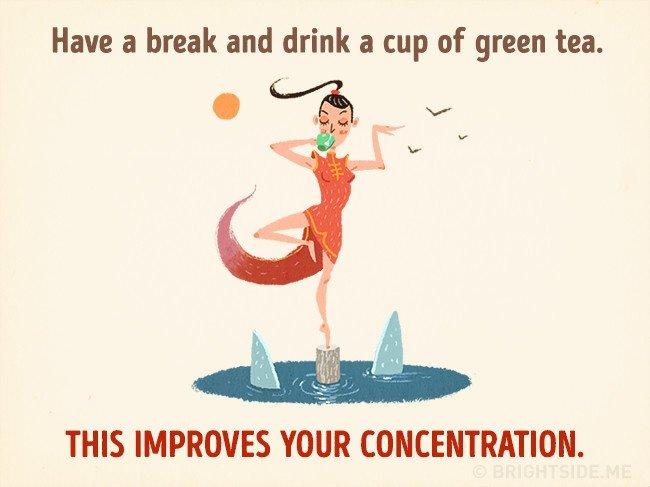 Uống một tách trà xanh trong lúc nghỉ ngơi giúp cải thiện sự tập trung