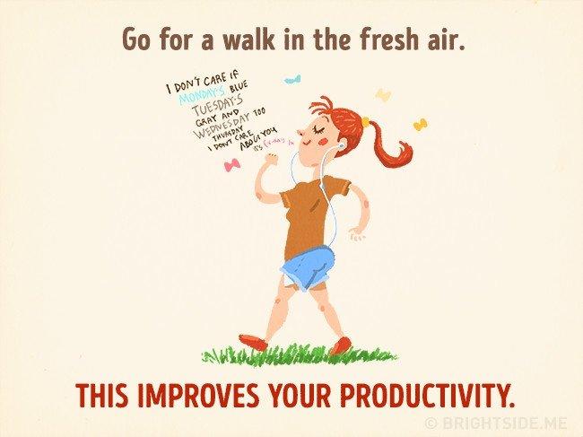 Đi dạo trong bầu không khí trong lành giúp cải thiện năng suất làm việc