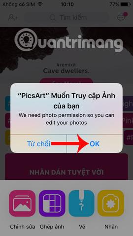 Picsart truy cập album