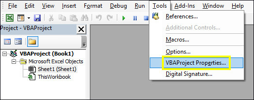 Tools > VBAProject Properties