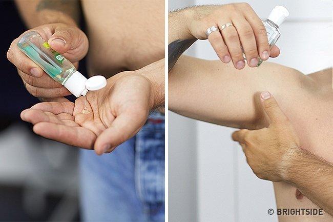 Làm sạch da với dung dịch rửa tay