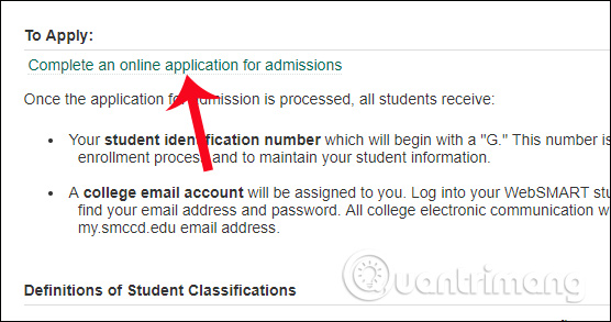 Complete an online application for admissions
