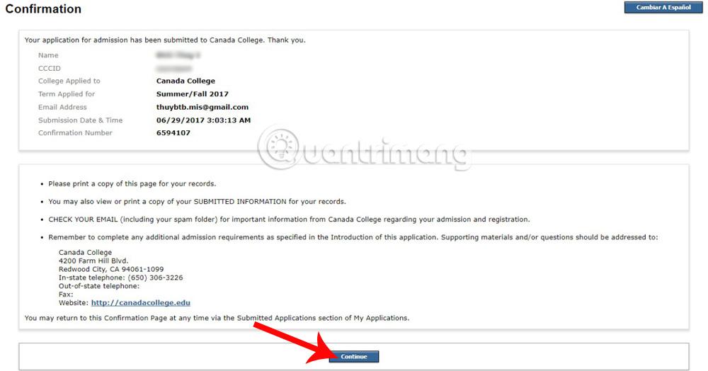 Xác nhận đơn đăng ký