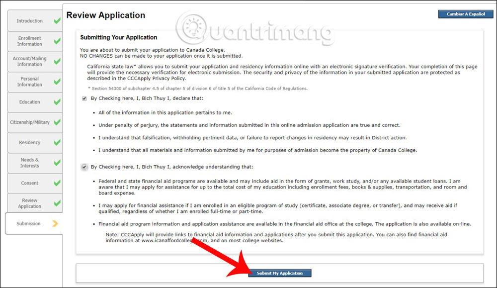 Hoàn thành đơn đăng ký