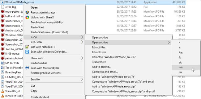 Nhấp chuột phải vào chọn 7-Zip > Open archive > cab từ menu