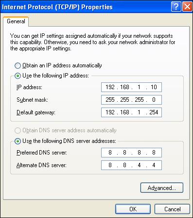 Nhập địa chỉ DNS