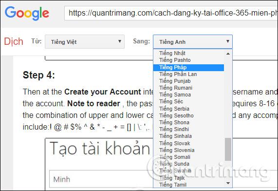 Chọn tiếp ngôn ngữ dịch