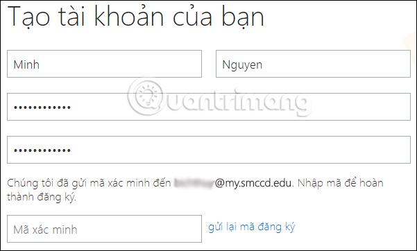 Tạo tài khoản đăng ký