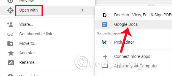 Mở hình ảnh bằng Google Docs