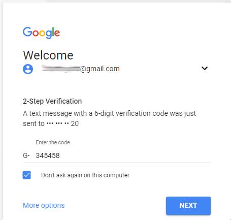 Điền mã xác nhận khi đăng nhập Gmail
