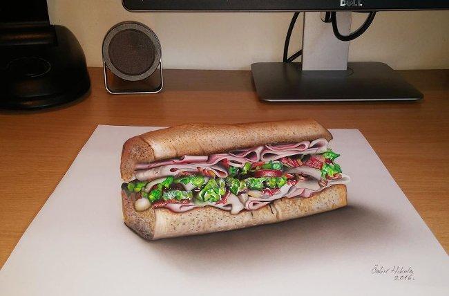 Bản vẽ 3D bánh hamburger