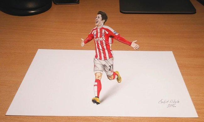 Bản vẽ 3D cầu thủ đá bóng