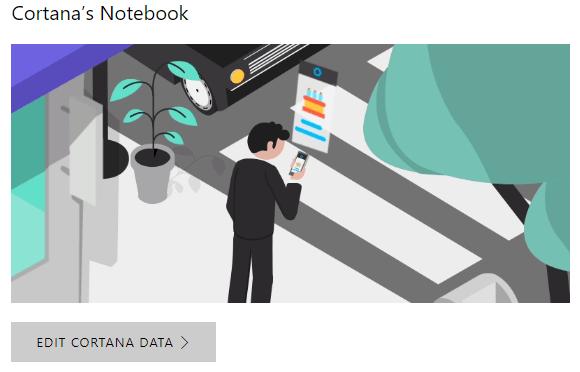 Chỉnh sửa dữ liệu Cortana đã thu thập