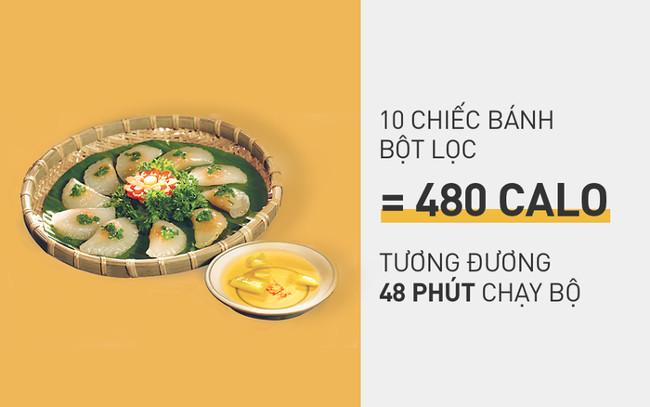 10 chiếc bánh bột lọc tổng cộng có 480 calo