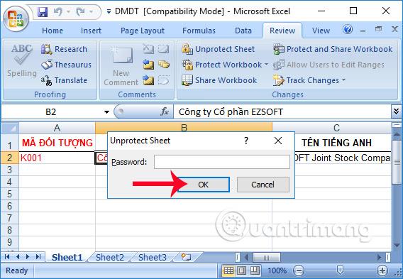 Nhập lại mật khẩu sheet Excel