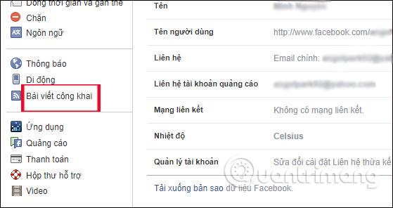 Bài viết công khai trên Facebook