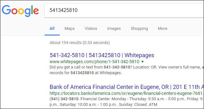 Kết quả tìm kiếm số điện thoại trên Google