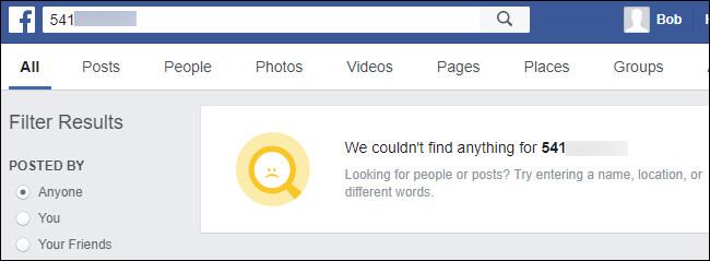 Thông báo không tìm thấy kết quả trên Facebook