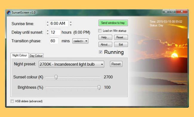 Ứng dụng SunsetScreen