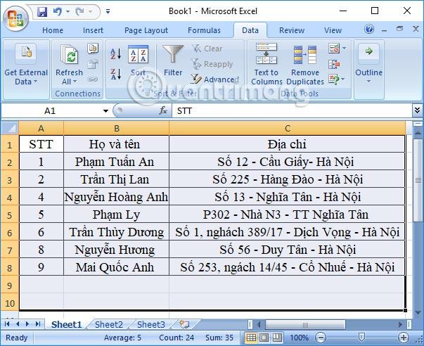 Xóa nội dung trùng lặp trong Excel