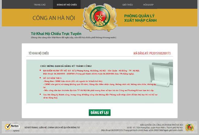 Hoàn thành quá trình đăng ký
