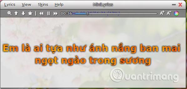 MiniLyrics hiện lời bài hát