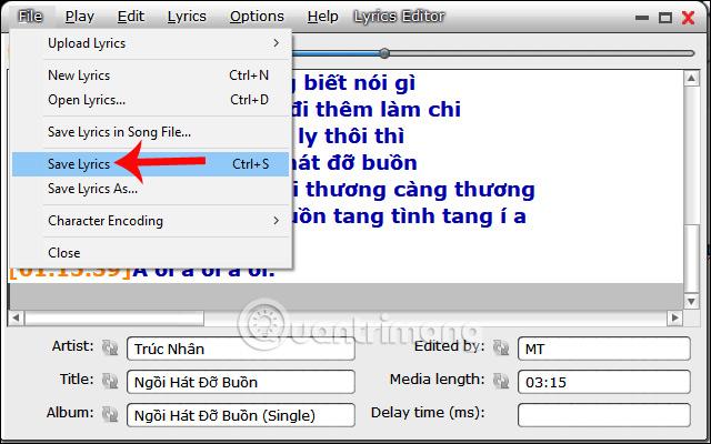 Lưu lời bài hát trên MiniLyrics