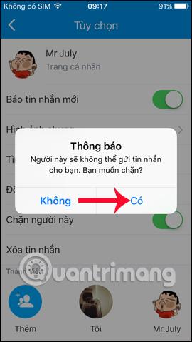 Không nhận tin nhắn từ bạn bè