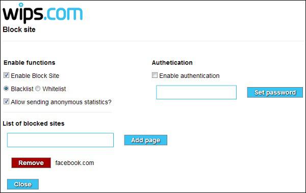 Thiết lập mật khẩu và nhập các trang web cần chặn