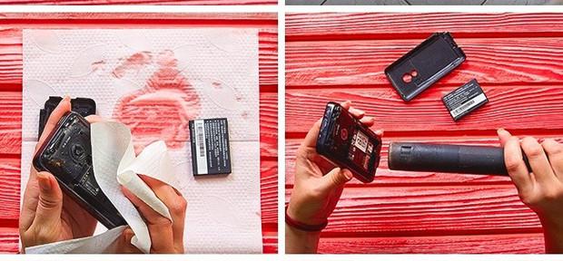 Dùng máy sấy để làm khô điện thoại