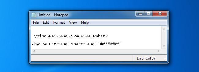 Sử dụng phím cách viết chữ Space