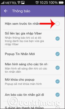Tắt hiện nội dung tin nhắn xem trước Viber