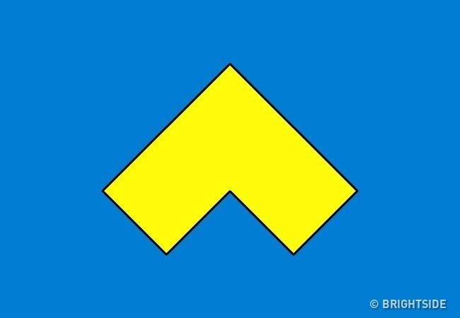 Làm thế nào để có thể chia hình màu vàng bên dưới thành 4 phần bằng nhau?
