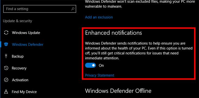 Tắt thông báo Windows Defender Summary