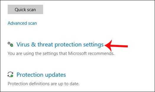 Nhấn chọn Virus and threat protection settings