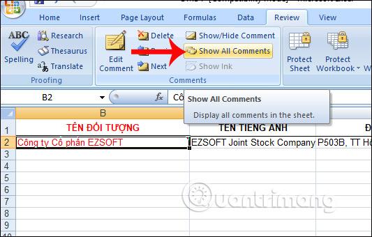 Hiện lại khung ghi chú Excel