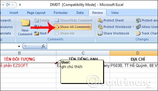 Ẩn ghi chú trên Excel
