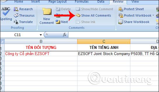 Ẩn ghi chú qua Excel Options