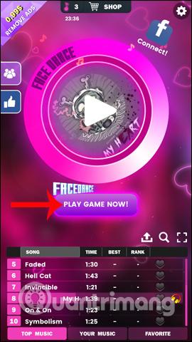 Nhấn nút trò chơi ngay bây giờ