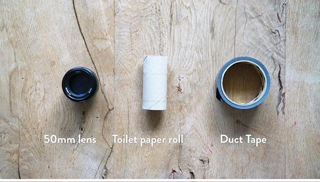 Lõi giấy vệ sinh làm ống lens macro