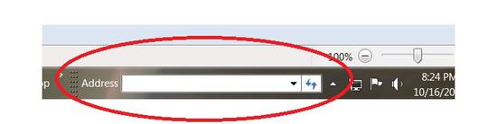Thanh địa chỉ trên thanh taskbar