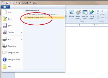 Mở file docx từ wordpad