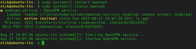 Chạy dịch vụ OpenVPN