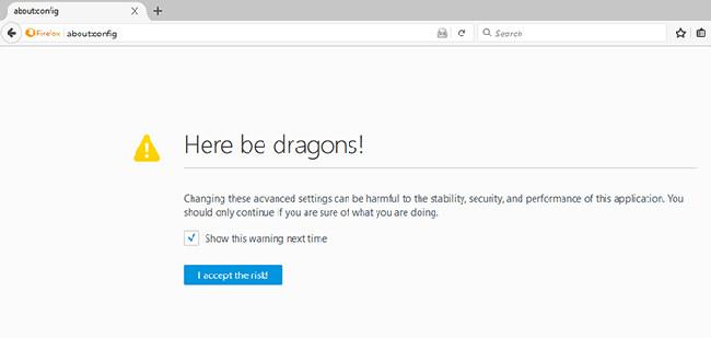 Cảnh báo khi truy cập trang about:config