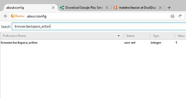 Cấu hình nút Backspace trên Firefox